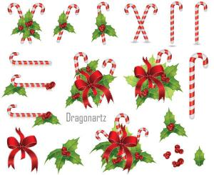 Free Christmas Candy Cane with Holly Berry and Red Bow Vector Art