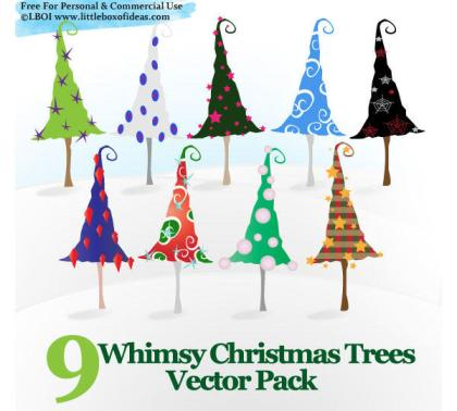 Whimsy Christmas Trees Vector Free