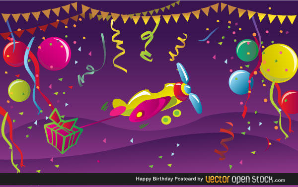 Free Happy Birthday Postcard Vector