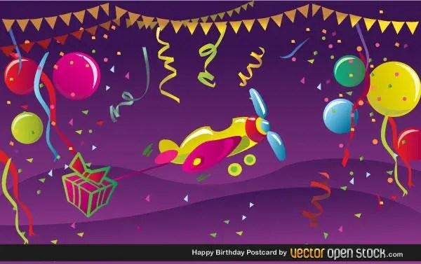 Free Happy Birthday Postcard Vector