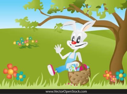 Easter Bunny Carrying a Basket Full of Easter Eggs on Landscape Vector Free