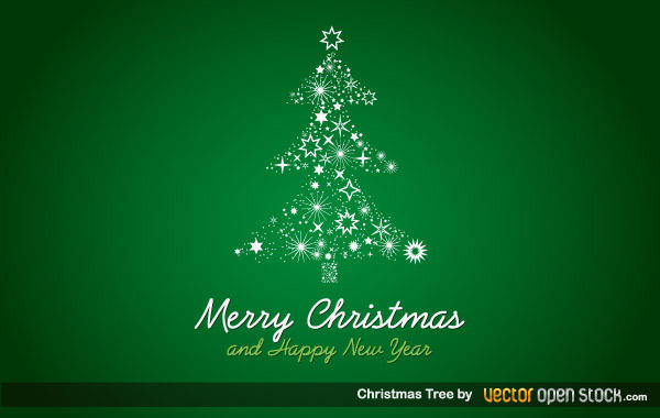 Free Christmas Tree on Green Background Vector Art