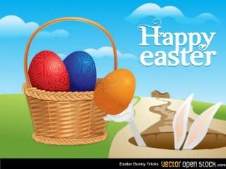 Free Easter Eggs in Basket Vector Art