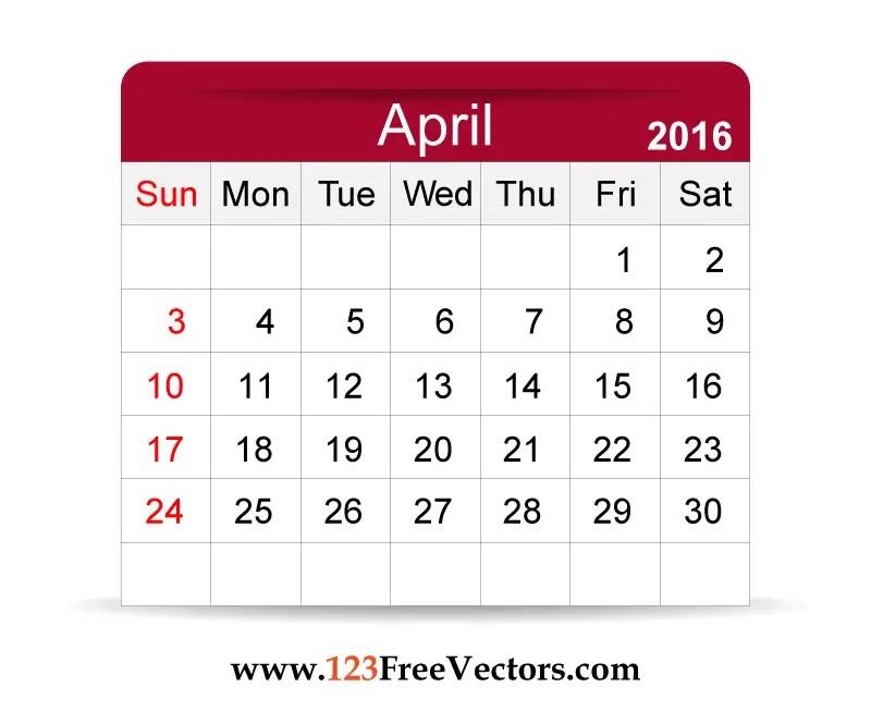 Free Vector 2016 Calendar April