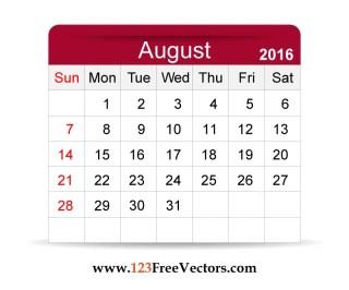 Free Vector 2016 Calendar August