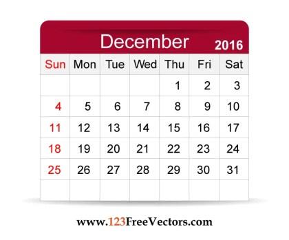 Free Vector 2016 Calendar December