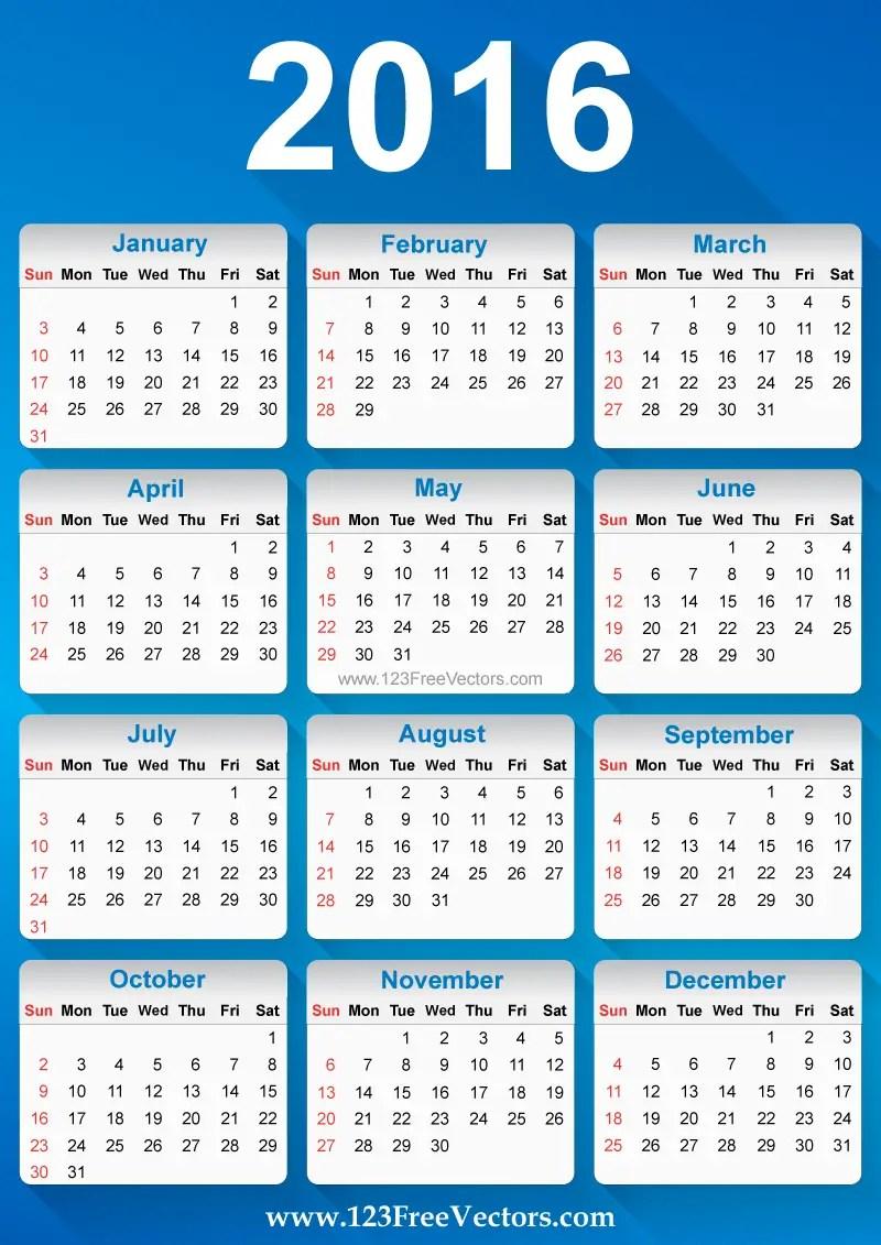 Free Vector 2016 Calendar