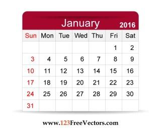 Free Vector 2016 Calendar January