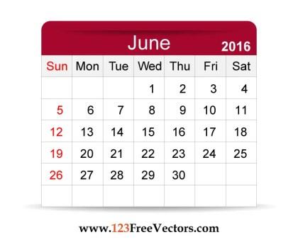 Free Vector 2016 Calendar June