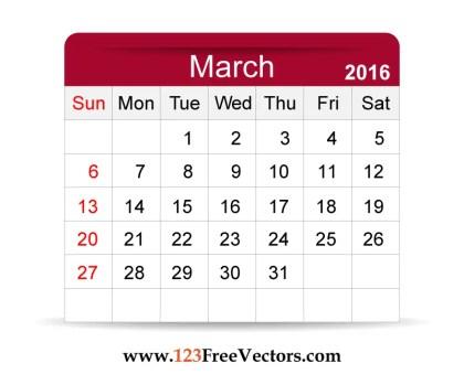 Free Vector 2016 Calendar March