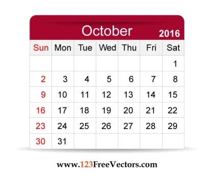 Free Vector 2016 Calendar October
