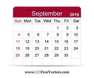 Free Vector 2016 Calendar September