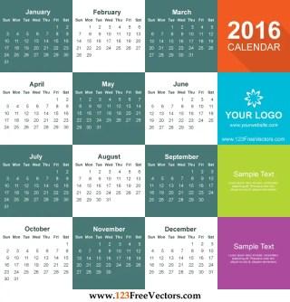 2016 Calendar Template Free Download