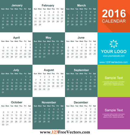 2016 Calendar Template Free Download