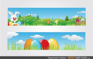Free Vector Easter Banners with Easter Bunny, Basket Full of Easter Eggs and Flowers on Landscape
