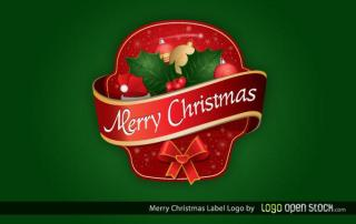 Merry Christmas Label Free Vector