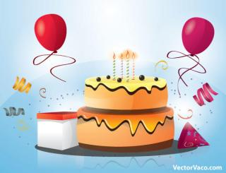 Happy Birthday Cake with Candles and Balloons Vector