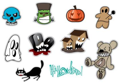Free Halloween Stickers Vector Set