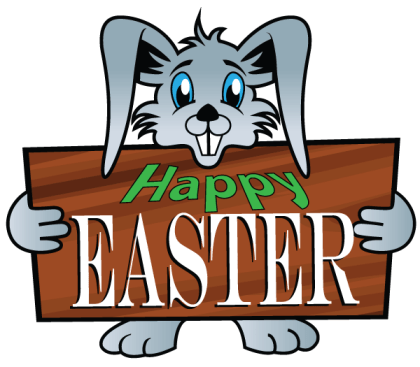 Easter Bunny Holding a Wooden Signboard with Happy Easter Text Vector Illustration