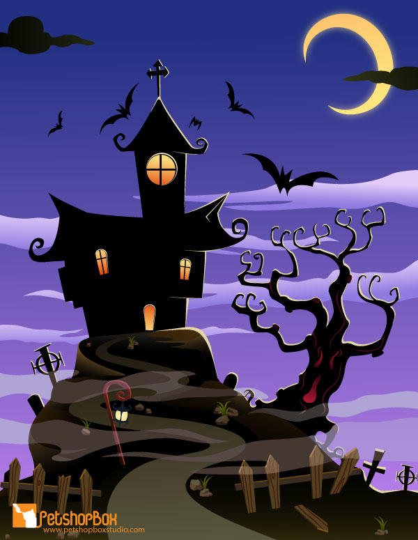 Free Haunted House Halloween Background Vector