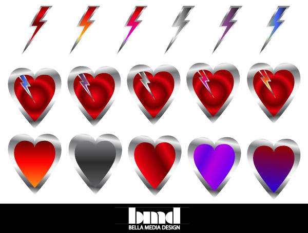 Free Vector Heart with a Lightning Bolt