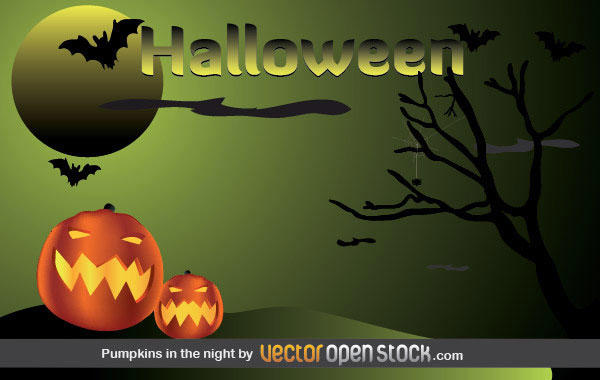Free Halloween Postcard with Pumpkins, Bats, Moon and Dead Tree
