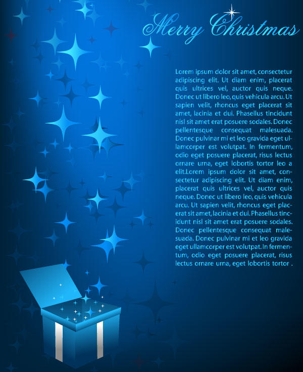 Abstract Sparkle Blue Christmas Background with Gift Box Vector