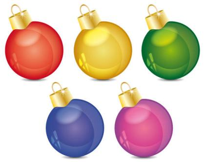 Shiny Christmas Ball Ornaments Free Vector