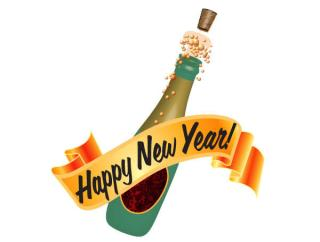 Happy New Year Champagne Bottle Vector