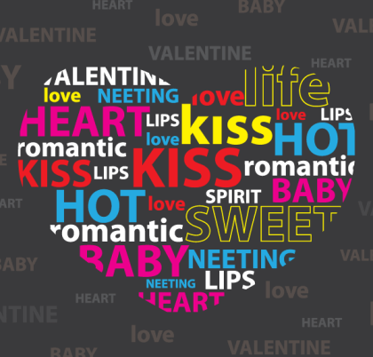 Valentine's Day Heart Shaped Word Cloud Vector Free
