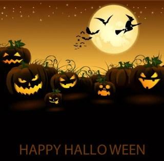 Jack O' Lantern Pumpkin in Halloween Night Vector Graphic
