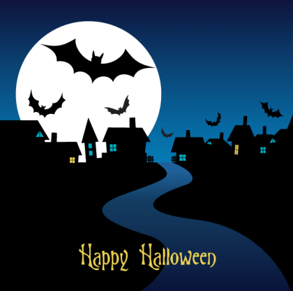 Happy Halloween Night Card Design Vector Free