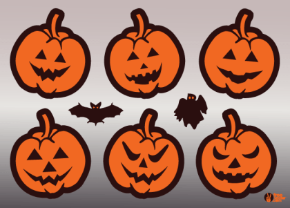 Jack O' Lantern Pumpkin Faces Vector Free