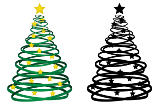 Free Ribbon Christmas Tree Vector