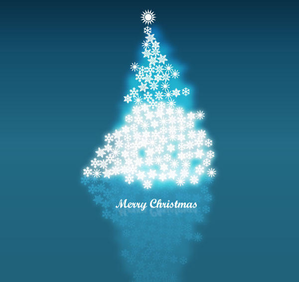Vector Snowflake in Christmas Tree Background Image