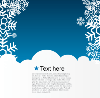 Vector Christmas Greeting Card with Snowflakes on Blue Background