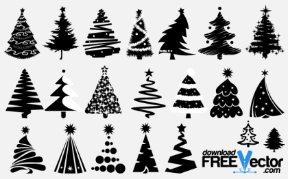 Free Vector Christmas Tree Silhouettes