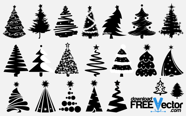 Christmas Wreath Silhouette Free.Free Vector Christmas Tree Silhouettes