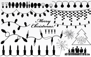 Vector Christmas Light Garland Clip Art