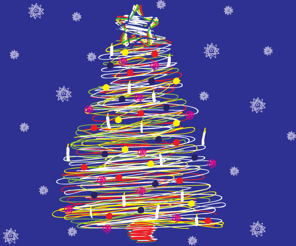 Free Scribble Christmas Tree Vector