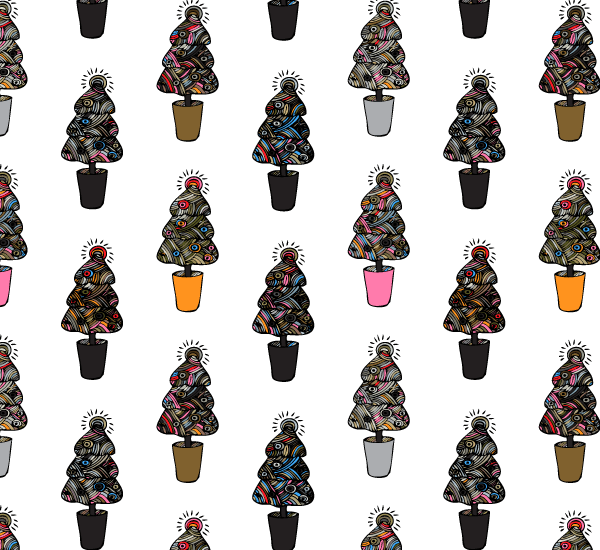 Doodle Christmas Trees Photoshop and Illustrator Pattern Swatches