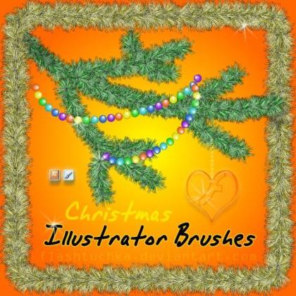 Free Christmas Tree Branch Illustrator Brushes