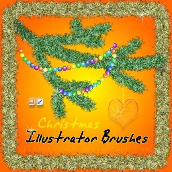 Free Christmas Tree Branch Illustrator Brushes