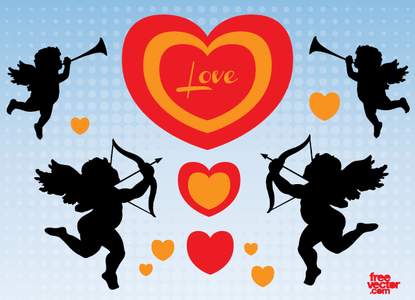 Free Valentine Cupid Angels Silhouettes Vector Art
