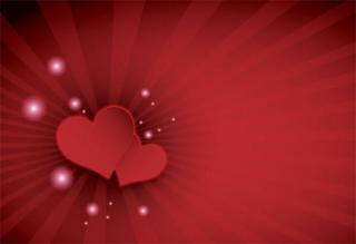 Happy Valentine's Day Red Hearts on Sunburst Background Vector Image