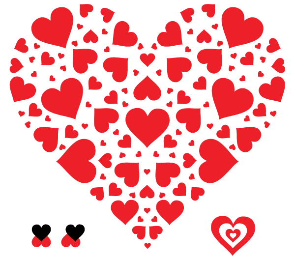 Heart in Heart Shape Vector Free