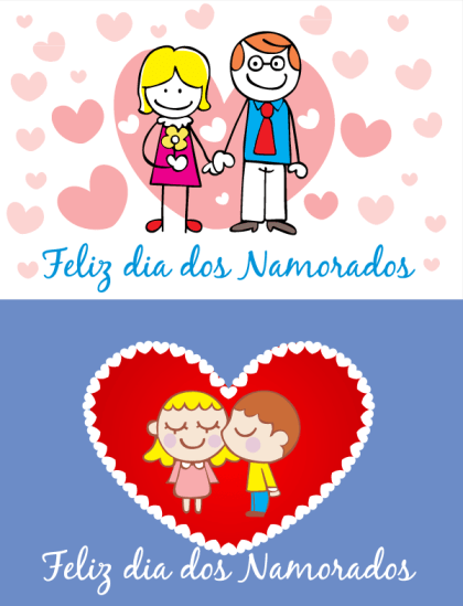 Free Valentine's Day Card with Love Couples Vector