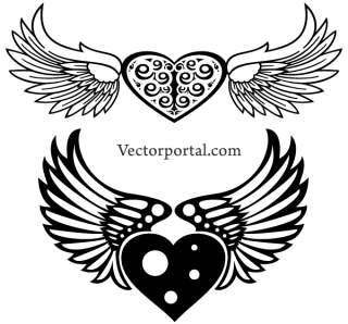 Free Winged Heart Vector Image