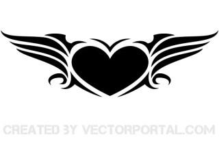 Free Winged Heart Vector Art