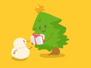 Cartoon Xmas Tree Giving Christmas Gifts to Snowman